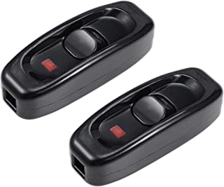 uxcell Inline Cord Switch On/Off Rocker Switch Table Lamp Desk Light Switch with Indicator Light, Black, 110-250V Light Voltage Pack of 2