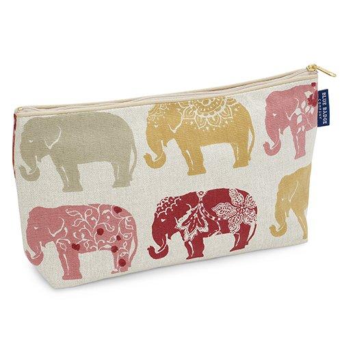 Blue Badge Company Baumwolle gepolsterte Toilettenartikel-Kasten-Wäschebeutel mit wasserdichtem Futter, indischer Elefant-Druck