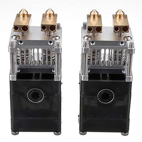 belupai 3D Printer Part Ultimaker UM2 Aluminum Alloy Dual Heads Extruder Kit For 0.4mm 1.75mm Nozzle