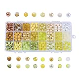 PH PandaHall 1 Box (About 720 pcs) 24 Color 8mm Round Mixed Style Glass Beads Assortment Lot for Jewelry Making, Gradual Yellow Series