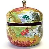 Japanische Teedose Dose Suzuko/DOUBLE Deckel/Luftdichte/3.5oz (150g), grün Tee rot