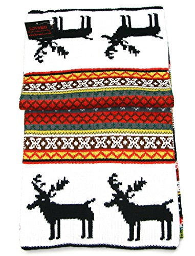 Lovarzi Winter Knitted Scarf for Women and Men- Reindeer Fair Isle Christmas Theme Scarves