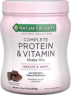 Nature's Bounty Optimal Solutions Complete Protein & Vitamin Shake Mix Chocolate 16 OZ - Buy Packs and SAVE (Pack of 2)