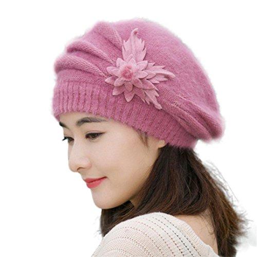 Amlaiworld Strickmützen, Damen Blume Stricken häkeln Beanie Mütze Winter Warm Cap Mütze (Lila)