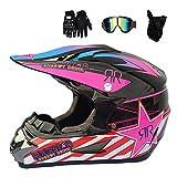Casco de motocross para adulto, casco de motocross, moto, guantes, máscara, negro y rosa, certificado Dot, casco integral BMX Quad Enduro ATV para mujer, hombre y niño (S)