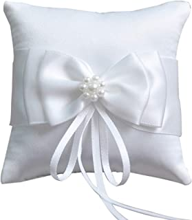 Little World Ring Pillow Pearls, Decor Bridal Wedding Ring Bearer Pillow, 7.8 Inch x 7.8 Inch (White)