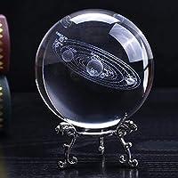 占いボール 3Dレーザー刻印太陽系クリスタルボール天文学球ガラス飾りギフト装飾ボール 装飾ボール (Color : Ball silvery base, Size : 10cm)