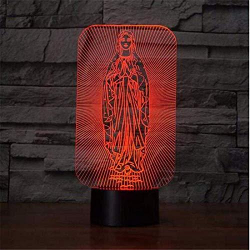 Foco de luz de la noche de Led 7 colores cambiantes Led de escritorio Luminoso Virgen María Forma Iluminación para el hogar Usb 3D Decoración del sueño del bebé Luz de noche