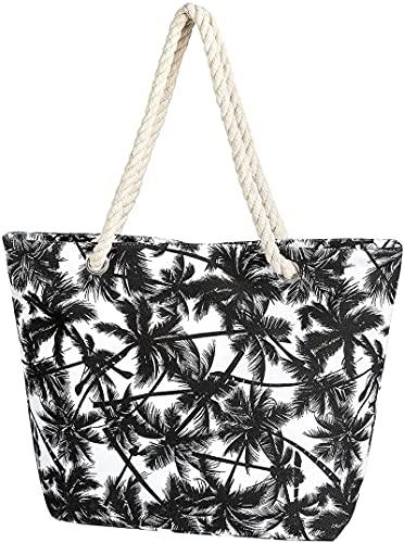 DOPN Bolso grande de lona para verano, gran bolsa de playa con cremallera, bolso de hombro para piscina, verano, para mujer