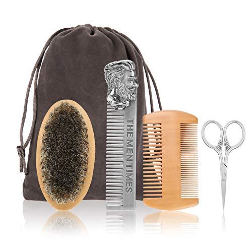 Filfeel Set di 4 oli per la cura della barba, spazzola da barba, pettine in acciaio inox, forbici, pettine lungo, professionale solo per uomini