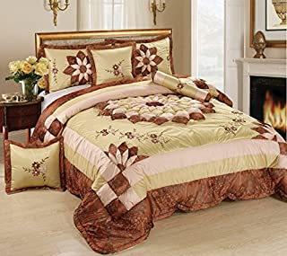 Tache 6 Piece Elegant Brown Floral Autumn Royal Bouquet Medallion MZ1265-Q Comforter Quilt Set, Queen