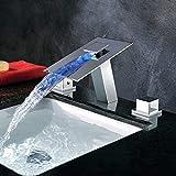 GUONING-L Baño Tap Cobre grifo cascada caliente y frío 3 Agujero llevada moderna cambio de color de luz Baño Lavabo bajo el mostrador del grifo del lavabo Hermosa práctica Los grifos del fregadero