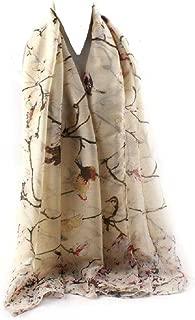 "COTTON GEORGETTE BIRD & FLORAL PRINT HIJAB SCARF SHAWL Light Weight Elegance 71"" X 35"""