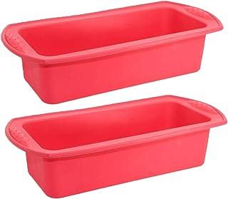 Silicona para pan - Juego de 2 - Moldes para hornear antiadherentes de silicona INTVN para panes, pasteles y lasaña - 27 * 13 * 6.5CM, color rojo