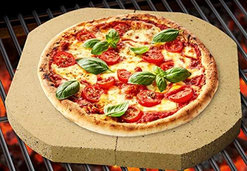 Mr. BBQ Pizzastein, Brotbackstein, 2-teilig, 40 x 20 x 3 cm je Hälfte, für Pizza, Flammkuchen, frischem Brot und Bruschetta, für Grill und Backofen geeignet