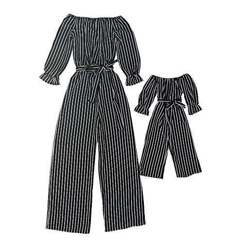 CYICis Mutter und Tochter Kleidung Sommerkleider Schwarz Vertikaler Gestreift Bow Schulterfre Shirtkleider Partnerlook Mama Kind Kleid (Mutter-S, Schwarz)
