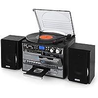 Auna TC-386 - Equipo de música Tocadiscos, Minicadena Hi-fi, Radiocasete, Altavoces estéreo, Reproductor de CD, Compatible MP3, Digitalizador USB, Ranura SD, Radio FM, Control Remoto, Negro