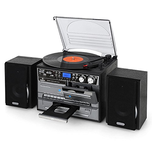 AUNA MG-TC-386WE Stereo Edition- Hifi System, Turntable CD Player USB SD Inputs Automatic Record Player with Multiple Playback Speeds (Double Cassette Deck, Recording Function, X-Bass Function, FM)