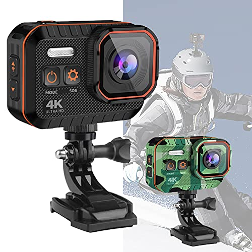 Action Cam 4K 1080P Fotocamera Subacquea WiFi Anti-Shake Stabilizzatore d'immagine Telecamera per Casco 2.0 IPS 170 ° Kit di Accessori per Telecomando grandangolare