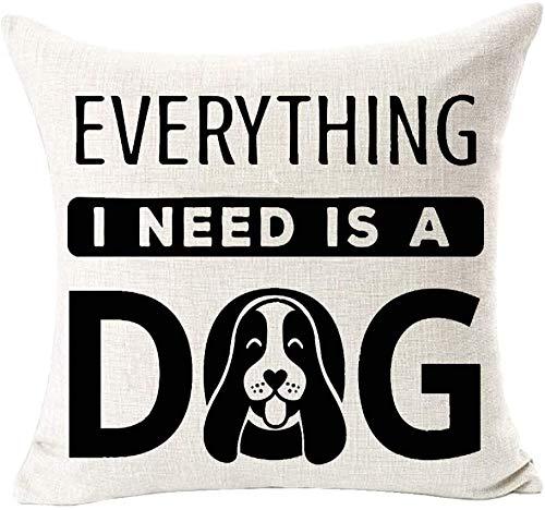 Bernice Winifred Animal Adorable I Love Dachshund Algodón Lino Cuadrado Fundas de Almohada Decorativas Funda de cojín para sofá de Cama Sofá Familiar al Aire Libre (Beige) -Dog3 (16 × 16)