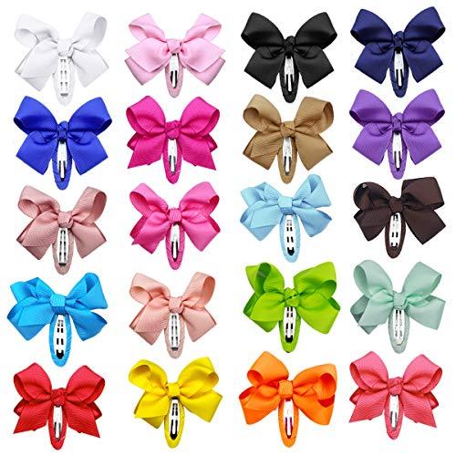 20Stk Haarschleifen Haarclips Haarnadel Haarklammern Haarschmuck Haarspange Haar Accessoire aus Ripsband für Mädchen Baby Kinder