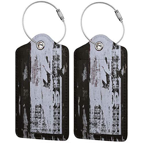 FULIYA - Juego de 2 etiquetas de cuero de alta gama para maletas, identificador de viaje para bolsas y equipaje, para hombres y mujeres, para pared, pegatina, rasgado, viejo, papel