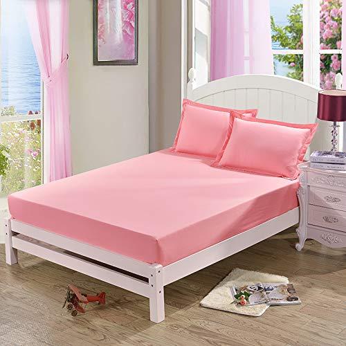 NHhuai Protector de colchón, algodón, poliéster, Protector de colchón Cepillado de un Solo Producto de Color Puro