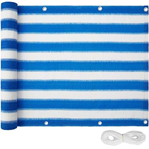 TecTake Brise Vue pour Balcon   Résistante aux intempéries et Hydrofuge- diverses Couleurs et diverses Tailles au Choix (Bleu-Blanc   500 x 90 cm   No. 402884)