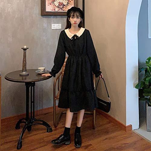Lolita Vestido Streetwear Shirt Kawaii Ropa Estilo Coreano Contraste Dulce Contraste Lace-Up Tcollar Mangas largas Cintura Adelgazante Retro Francés Lolita Vestido Traje de Cosplay (Color : Black)