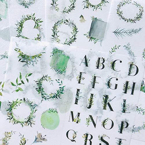 PMSMT 6 Hojas Estilo Verde Fresco Letras de la Hoja Papel washi Pegatinas Decorativas Etiqueta Palo decoración