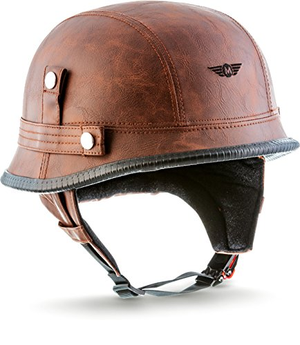 "MOTOHelmets® D33 ""Leather Brown"" · Brain-Cap · Halbschale Jet-Helm Motorrad-Helm Roller-Helm Scooter-Helm Bobber Mofa-Helm Chopper Retro Cruiser Vintage Pilot · Schnellverschluss Tasche L (59-60cm)"