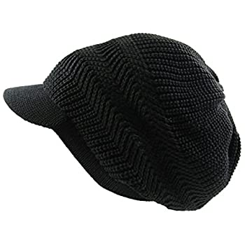 RW Knitted Cotton Rasta Slouchy Beanie Visor  Black