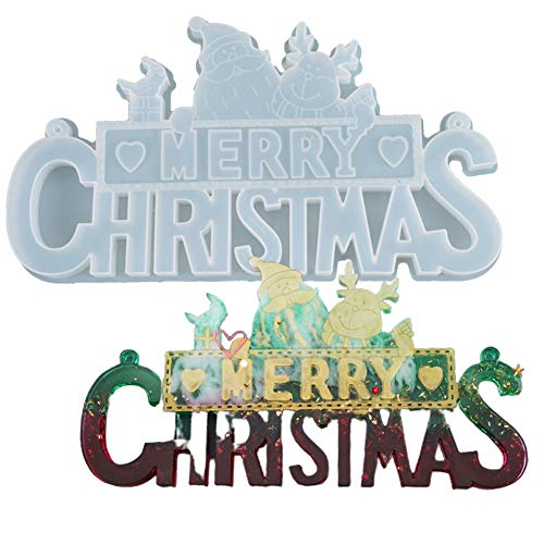 shenruifa 2020 Christmas Decorations Presents, Merry Christmas Letter Form Decoration Mold DIY Silicone Crystal Epoxy Mold for Christmas Ornaments