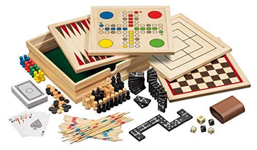 Philos 3099 - Set di giochi da tavolo in legno, 10 combinazioni di giochi, [lingua DE, EN, FR, ES] [importato dalla Germania]