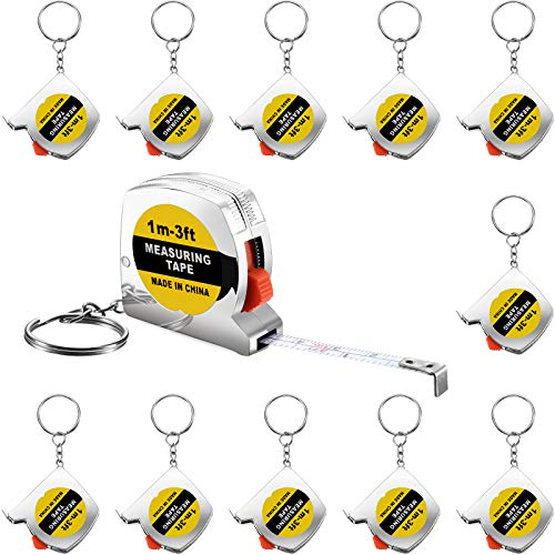 12 Pieces 1.5 Inch Tape Measure Keychains Functional Mini Tape Measures with Stable Slide Lock Birthday Party Favors Goody Bag Fillers Prize