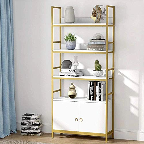 Tribesigns Gold Bookcase with Door 4-Tier White Etagere Standard Bookshelf with Storage Cabinet Modern Book Shelves Display Shelf with Door for Home Office