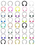 Vsnnsns 16G Surgical Steel Horseshoe Nose Septum Rings Piercing Jewelry Cartilage Helix Tragus Earring Studs Hoop Lip Horseshoe Ring Piercing Jewelry Retainer for Women Men 10mm 40pcs