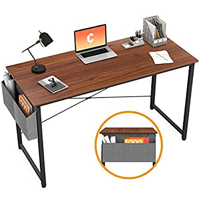 Cubiker Computer Desk Home Office Writing Study Desk, Modern Simple Style Laptop Table with Storage Bag, Black