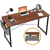 Cubiker Writing Computer Desk 39' Home Office Study Desk, Modern Simple Style Laptop Table with Storage Bag, Espresso