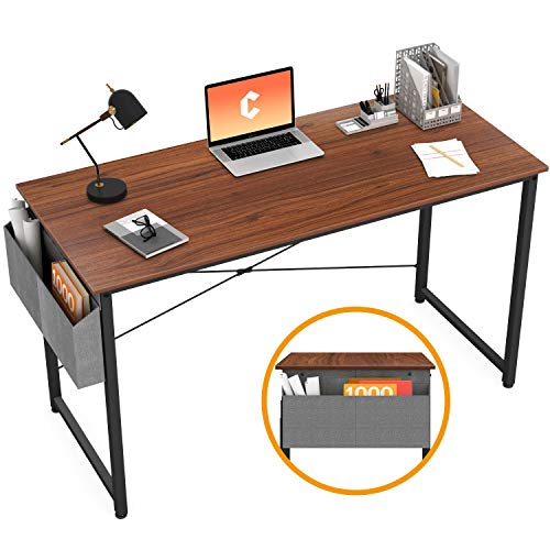Cubiker Writing Computer Desk 39 Home Office Study Desk, Modern Simple Style Laptop Table with Storage Bag, Espresso