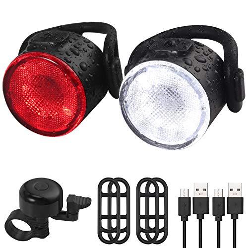 Anbte Fahrrad Rücklicht, LED Fahrradrücklicht 2 Stück USB Aufladbar Fahrradrücklicht 6 Beleuchtungsmodi 50 Lumen IPX5 Wasserdicht Fahrradlampe Vorder- und Rücklicht mit Fahrradklingel