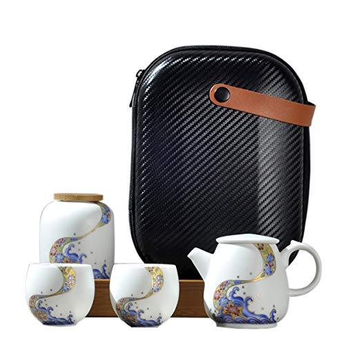 fanquare Tragbare Reise Tee Set mit Reisetasche, Porzellan Teeservice mit Meereswelle und Blume Motiv, Teekanne mit Teetassen und Teedose