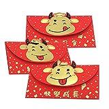 Abset Sobres rojos chinos, 3 unidades, año de buey, suerte y dinero