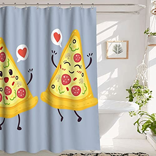 Duschvorhang Pizza Shower Curtain Bathroom Shower Curtain, Cute Pizza Slice, Premium Polyester Waterproof Pizza Shower Curtain, 72x72 in, Yellow