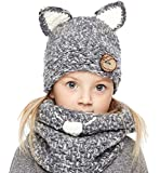 Sumolux Winter Kids Cat Hat Animal Knitted Coif Hood Scarf Beanies for Autumn Winter