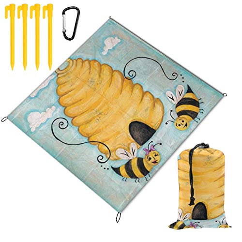 Osvbs Picnic Blanket Mat, Waterproof Foldable Play Mats For Families - Protective Blankets For Park, Camping, Yard, Lawn, Sand 59 X 57 Inch,Bee Happy Cute Bee Hive Garden Banner