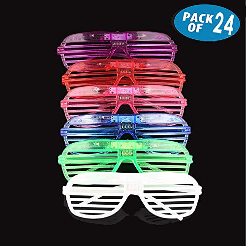 Originalidad 24 Pack LED Glasses & Kids Party Favors, 6 Color Light Up Plastic Shutter Shades Glasses Led Sunglasses for Adults and Kids Glow in Dark Party Supplies Rave Night Party Favors