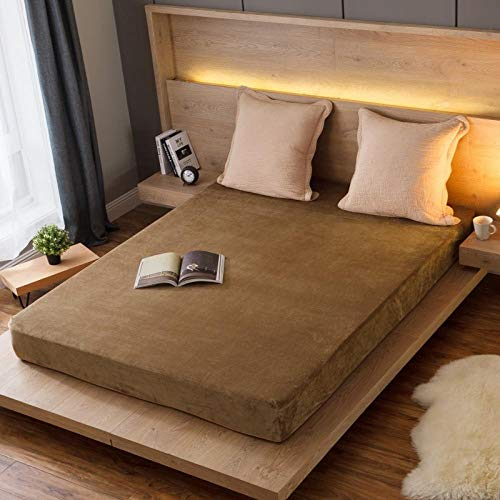 GTWOZNB Bed Sheets, Ultra Soft Silky Smooth and Wrinkle-Resistant Autumn and winter bed sheet thickened warmth-camel_020_150*200cm