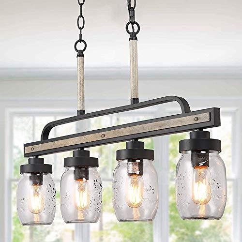 HONGLONG Weckglas rustikale Lampen, Leuchter Bauernhaus Metall Furnier, Glasschirm, hängen Anhänger linear, Insel für Küchen, Speise