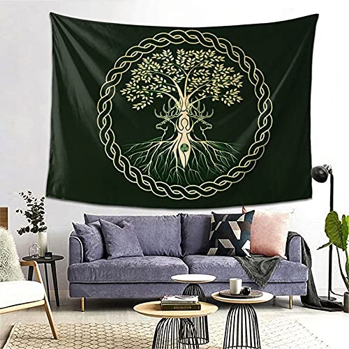 Celtic Norse Nordic Viking Goddess Wiccan Wicca Yule Yggdrasil Tapestry Yoga Tapestries Wall Hanging Home Decoration Bedroom Decor Living Room Door Curtain Balcony Room Divider 80 X 60 Inch